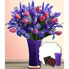 Mom's Delight Bouquet with Purple Vase and Chocolates