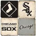 Chicago White Sox Italian Marble Coasters & Wrought Iron Holder
