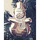 Engraved Gold Tone Snowman Ornament