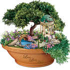 Thomas Kinkade Light Up Floral Garden Table Centerpiece