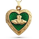 14K Gold Filled Claddagh Locket and Jewelry Box