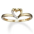 Diamond Open Heart Promise Ring in 14k Gold