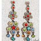 Flashy Jewel Cluster Chandelier Drop Earrings