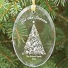 Engraved Tis the Season Oval Glass Ornament