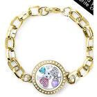 Gold Round Floating Locket Link Bracelet