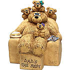 Personalized Dad or Grandpa Bear and Kids Figurine