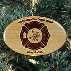 Engraved Fire Department Wooden Oval Ornament