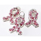 Rhinestone Pink Ribbon Charms