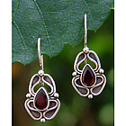 Newborn Butterfly Garnet Dangle Earrings