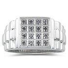 Black Diamond Mens Ring in Silver