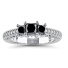 1.30 Cts Black & White Diamond Ring in 18K White Gold
