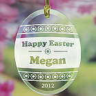 Engraved Floral Design Easter Egg Suncatcher