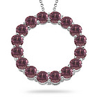 Pink Tourmaline Circle Pendant in 14K White Gold