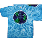 Planet Earth on Sky Blue Tie Dye Tee Shirt