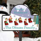 Sledding Family Character Yard Stake with Magnet