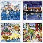 Boston Watercolor Image Coasters