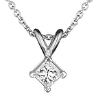 1/4 Ct Princess Diamond Solitaire Pendant in 18K White Gold