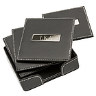Personalized Square Leather Coasters with Metal Plate