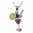 14K Diamond Pink Sapphire Martini Lemon Pendant Necklace