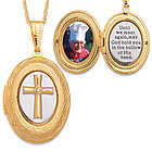 Two- Tone Memorial Cross Locket Pendant