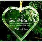 Engraved Soul Mates Glass Heart Ornament