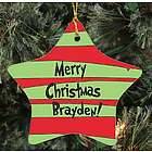 Personalized Ceramic Merry Christmas Star Ornament