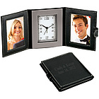 Double Leather Photo Frames Travel Desk Clock