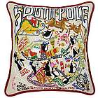 Hand Embroidered South Pole Christmas Pillow
