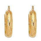 Fancy Hoop Earrings in 14K Yellow Gold