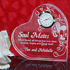 Engraved Soul Mates Heart Clock