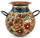 Floral Rainbow Copper and Gold Leaf Vase
