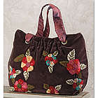 Velvet Embroidered Flowers Satchel