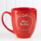 Personalized Teacher Red Apple Coffee Mug