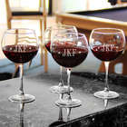 4 Diamond Monogram Red Wine Glasses