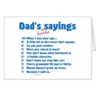 Dad's Favorite Sayings Greeting Card