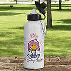 Personalized Smiley Girl Water Bottle