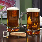 Stanford Personalized Groomsmen Beer Mugs & Bottle Opener