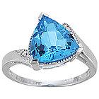 Trillion Blue Topaz and Diamond Ring in 14K White Gold