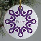 Purple Ribbon Alzheimer's Snowflake Ornament