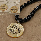 Engraved Goldlip Shell Pendant Onyx Necklace and Matching Earring