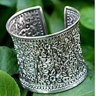 'Dazzling Jasmine' Sterling Silver Cuff Bracelet