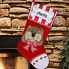 Dog's Embroidered Christmas Stocking
