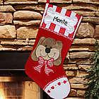 Dog's Embroidered Christmas Stocking