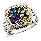 Balissima Multi Color Ring in 18k Yellow Gold and Sterling Silver