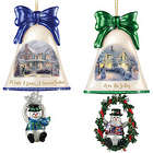 Set of 4 Thomas Kinkade Ringing in the Holidays Ornaments
