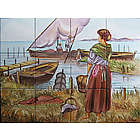 Spanish Fishermen Handpainted Ceramic Tile Mural