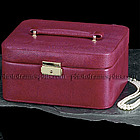 Red Leather Travel Jewelry Case