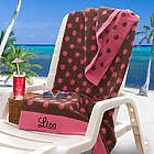 Pink & Brown Polka Dot Oversized Personalized Beach Towel