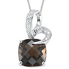 Diamond & Smokey Quartz Pendant in 14K White Gold