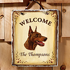 Personalized Welcome Dog Breed Slate